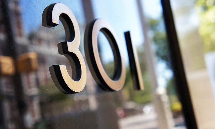 Street numbers at 301