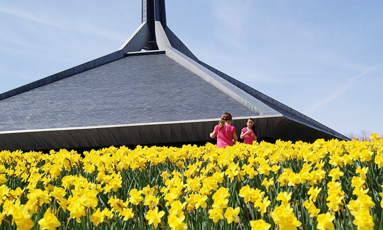 North Christian Church and girls in tulips