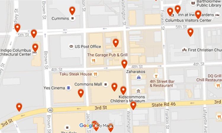 downtown Columbus map detail