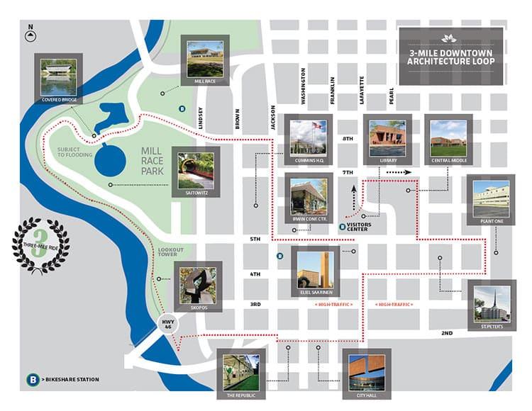 Three-mile downtown bike loop map