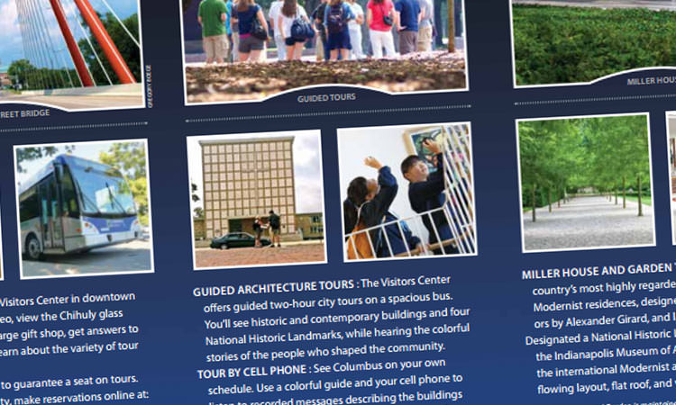 official Columbus, Indiana Visitors Center brochure sample page