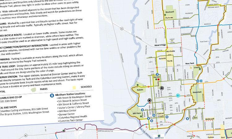 Columbus, Indiana bike map