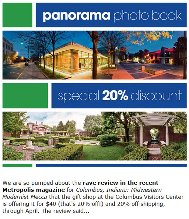 e-news sample, panorama book offer