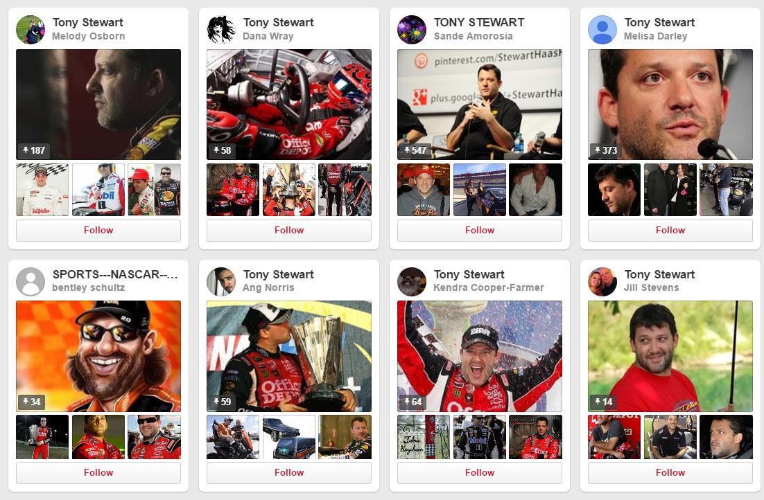 Tony Stewart Pinterest boards
