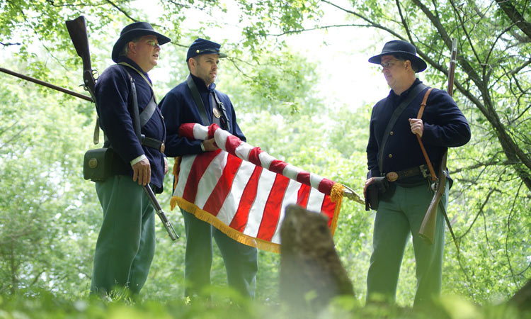 Memorial Day service at the Civil War gravesite of Barton Mitchell