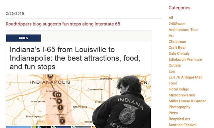 blog post - I-65 attractions in Columbus, Indiana