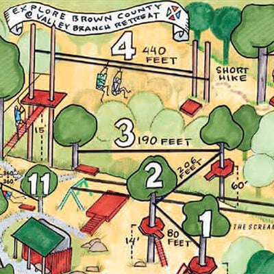zip line map at explore brown county