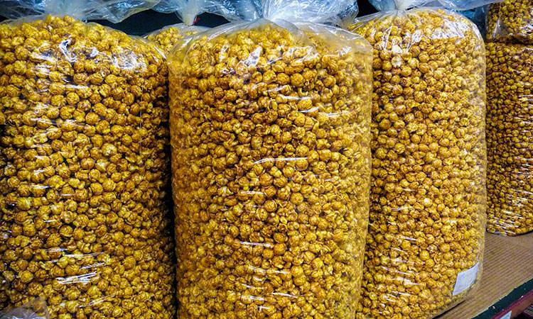 caramel corn bags at Not Just Popcorn, Edinburgh, Indiana