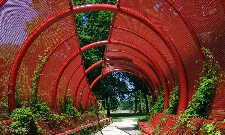 Stanley Saitowitz walkway in Mill Race Park, Columbus, Indiana