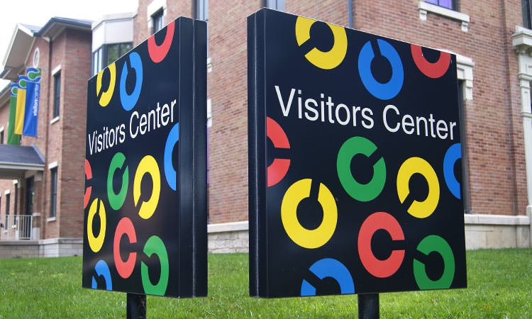 Columbus Indiana Visitors Center signage - by Paul Rand