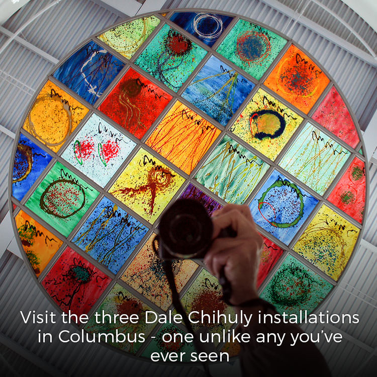 Three Chihuly installations in Columbus, Indiana
