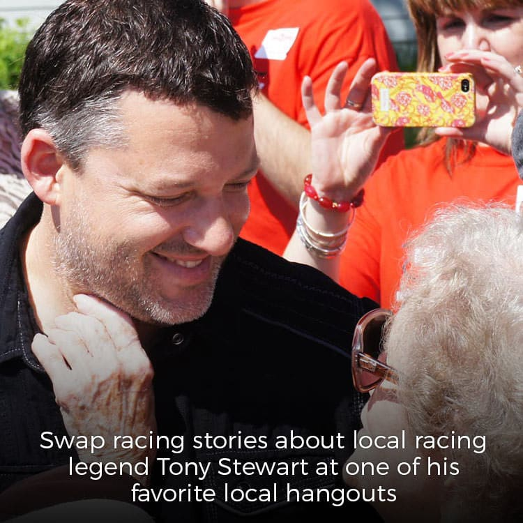 Tony Stewart at playground dedication in Columbus, Indiana