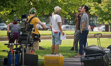 John Cho in downtown Columbus - photo by Mike Wolanin, The Republic Newspaper