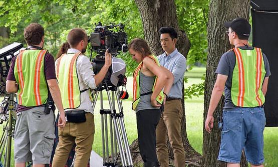 John Cho on set, shooting Columbus, the movie, at North Christian Church
