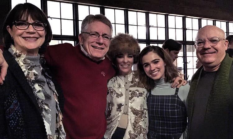 Parker Posey and Haley Lu Richardson with Mayor Jim Lienhoop