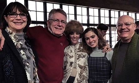 Parker Posey and Haley Lu Richardson with Mayor Jim Lienhoop