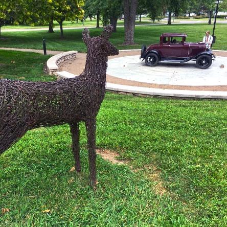 Seward sculpture, and deer sculpture