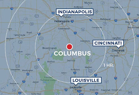 Google map for Columbus, Indiana