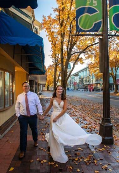 wedding couple, downtown Columbus